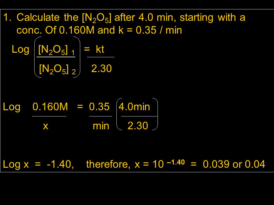 Calculate the [N2O5] after 4. 0 min, starting with a conc. Of 0